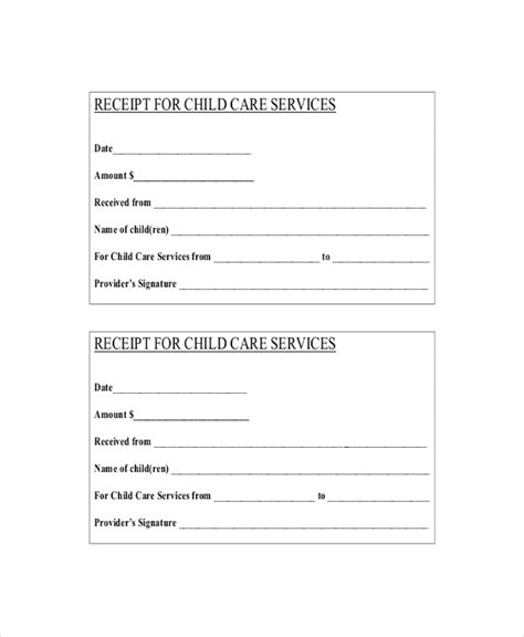 child care receipt template word child care receipt studio design gallery best design