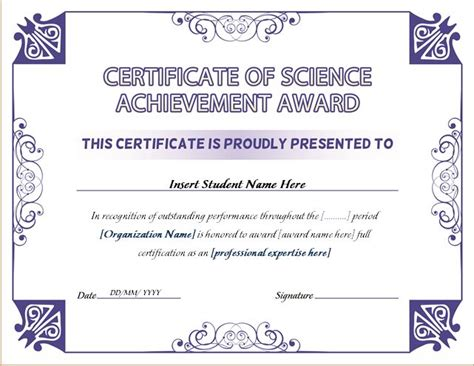science certificate template science achievement award certificates word excel