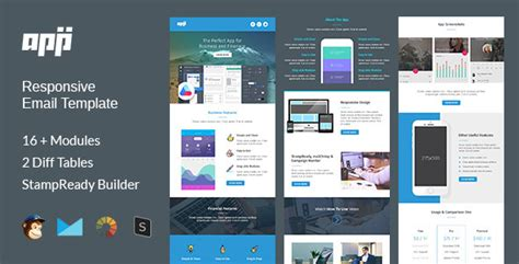 App Multipurpose Responsive Email Template Stready Builder Wordpress Theme Mail App Templates