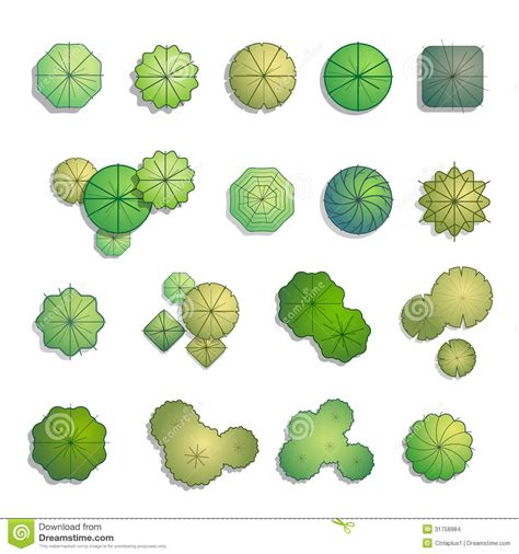 design pattern site du zero trees top view for landscape design stock vector