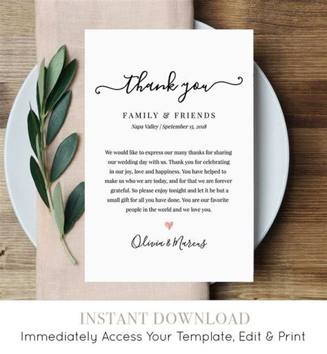 wedding letter note printable wedding