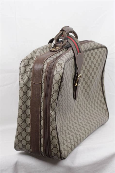 Tas Travel Bag Kanvas Gucci 1 gucci vintage gg monogram canvas suitcase travel bag w stripes at 1stdibs