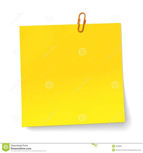 yellow note with orange paper clip royalty free stock