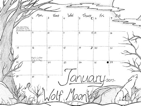 january calendar coloring pages calendar coloring page series january 2017 wolf moon