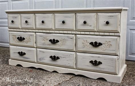 Antiquing A Dresser by The Junk Nest Antique White 9 Drawer Dresser