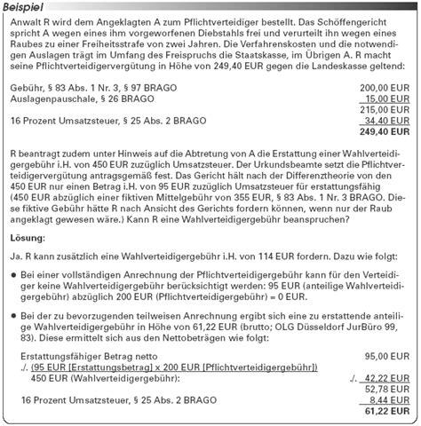 Antrag Kostenerstattung Vorlage Wahlverteidigerhonorar Abrechnung Der