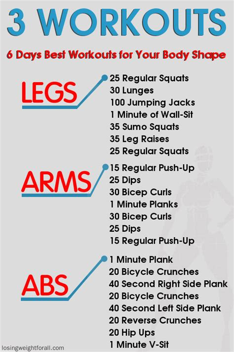 best workout 6 days workouts for your shape losing weight for all