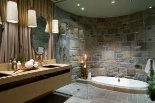 opulent bathroom with sunken jacuzzi and curved stone wall design amazing tubs showers seen bath crashers diy