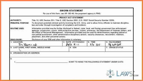 sworn statement  marital settlements information