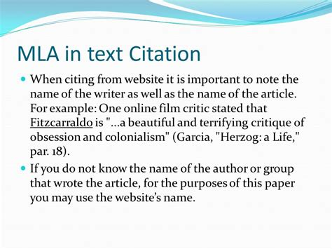 film mla in text citation modern languages association ppt download
