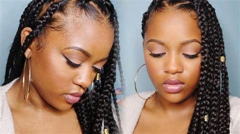 easy hairstyles with jumbo braiding hair easy triangle part box braids rubberband method youtube
