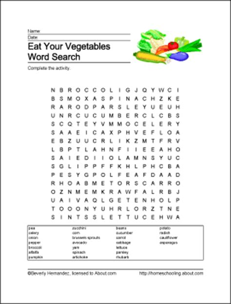 printable word search nutrition eat your vegetables printables crossword and more