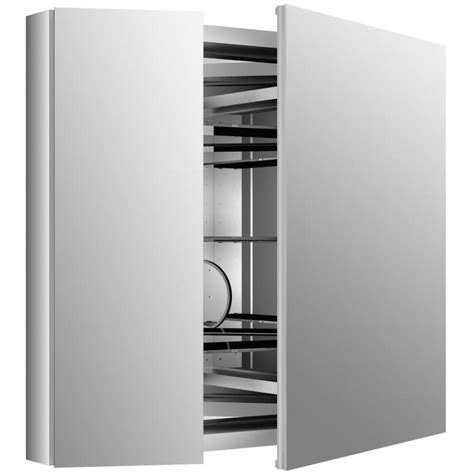 Bathroom Cabinets With Mirror Doors - shop kohler verdera 34 in x 30 in rectangle surface recessed mirrored aluminum medicine cabinet