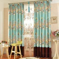 Beautiful Window Curtains Coffee And Blue Cotton Floral Curtains Beautiful Window Treatment