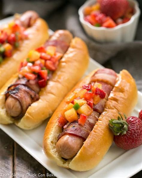 can dogs bacon bacon wrapped dogs with fruit salsa sundaysupper that can bake