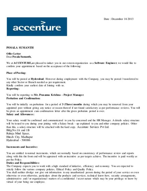 Accenture Offer Letter Queries Accenture