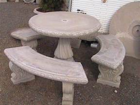 Cement Patio Tables Garden Tables And Benches Concrete Decorative Bench Portland Garden Decor