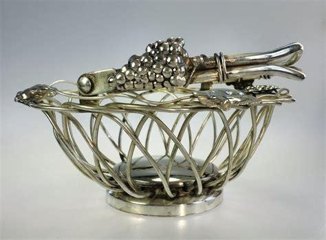 Studio Silversmith Etsy Studio Silversmiths Silverplate Handled Wire Basket Grape And