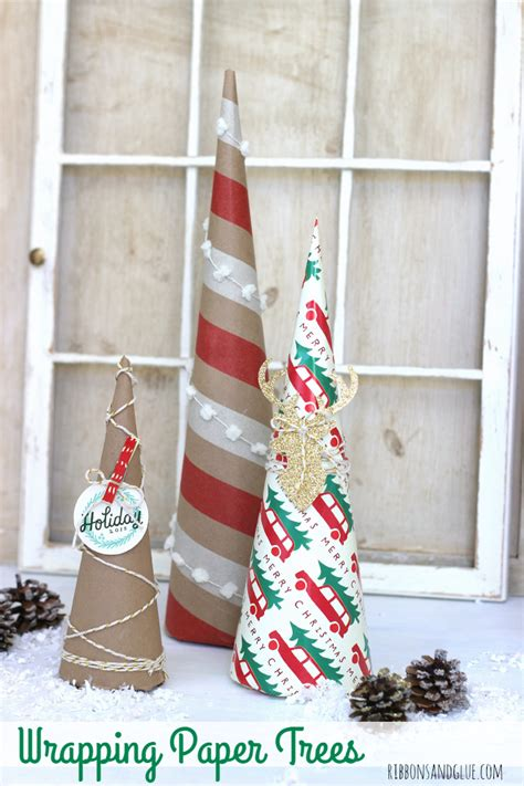 how to wrap ribbon around tree wrapping paper trees