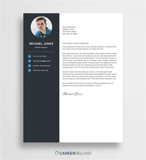 photoshop template letter cover letter michael career reload