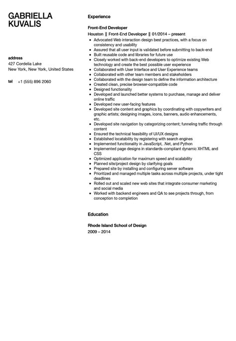 Front End Developer Resume Examples by Front End Developer Resume Sample Velvet Jobs