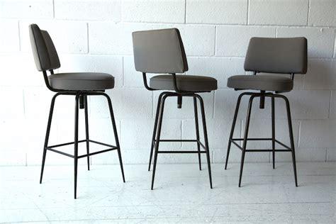 set of 3 vintage bar stools and chrome