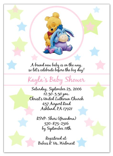 Free Printable Winnie The Pooh Baby Shower Invitations by Free Winnie The Pooh Invitation Template