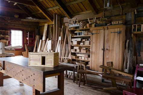carpenters shop   workpiece  tools stock