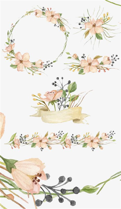 theme line vintage flower free hand painted flowers flower watercolor small fresh png