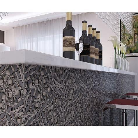 Metal Wall For Dining Room Metallic Mosaic Tile Silver Square Aluinum Metal Wall