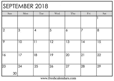Printable Monthly Calendar September 2018