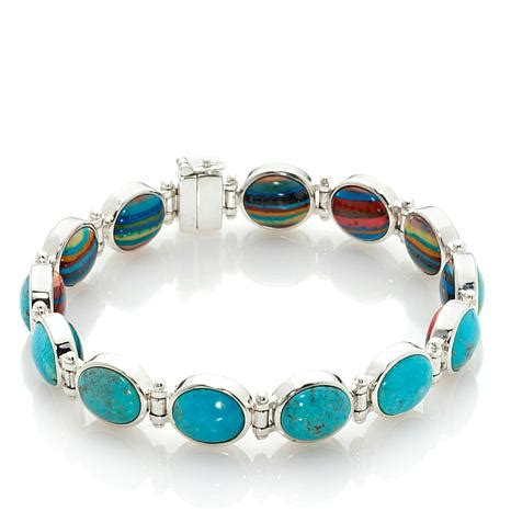 JAY KING REVERSIBLE TURQUOISE AND RAINBOW CALSILICA OVAL STATION BRACELET AT HSN.COM on The Hunt