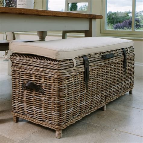 Dining Bench Cushion Rattan Storage Bench Basket Trunk With Storage