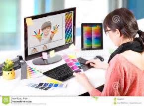 graphic designer at work color sles stock image image 39849685