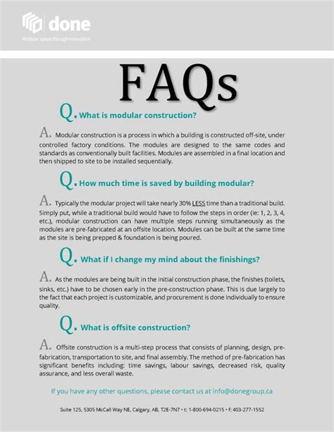 frequently asked questions done