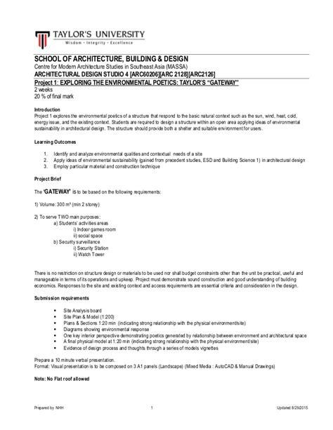 Project Brief 1 Architecture Studio 4 August2015 Architectural Brief Template