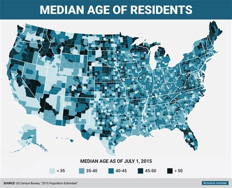 us map and blue counties youngest and oldest counties in the us map business insider
