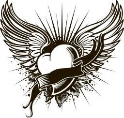 coloring pages of a heart with wings images