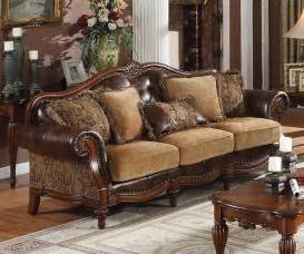 Sale dreena traditional bonded leather and chenille sofa sofas