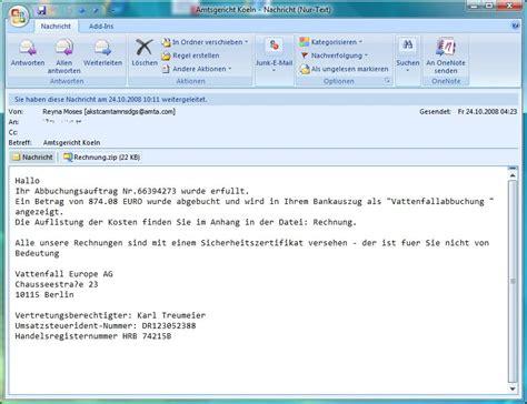 Muster Email Rechnung Spar Dsl De Warnung Internetkriminelle Schocken Mit Vattenfall Rechnung