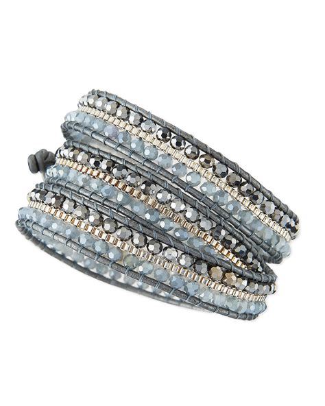 wrap beaded bracelet nakamol beaded wrap bracelet in silver lyst