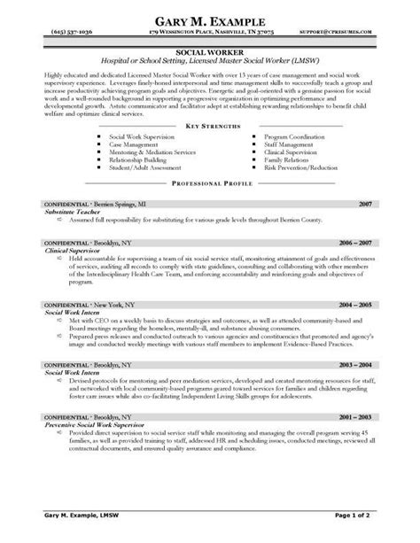 sle hospital social work resume exles and sle school setting social work resume