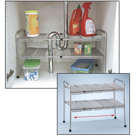 kitchen cabinet storage bins 2 tier expandable adjustable under sink shelf storage