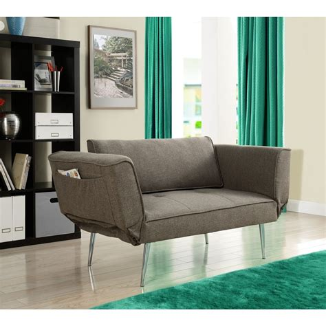 dhp futon sofa bed with magazine storage overstock