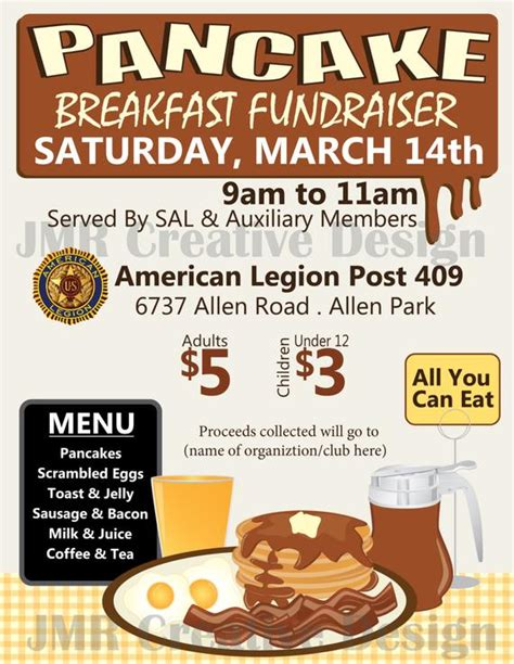 Pancake Breakfast Fundraiser Flyer All You By Jmrcreativedesign Breakfast Flyer Template