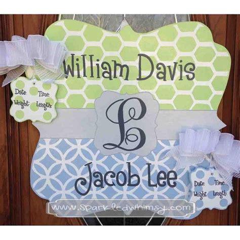 birth announcement door hanger personalized twin baby