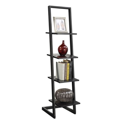4 shelf ladder bookcase in black 131499bl