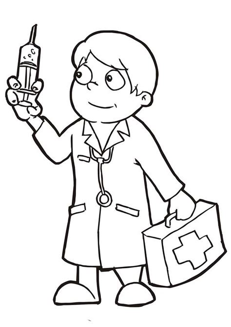 Dr Kid Hitam doctor holding epydermic needle coloring page holdi on