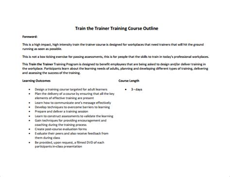training outline template 7 download free documents in