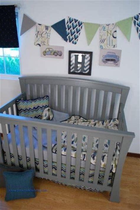 vintage car crib bedding vintage car fabric and chevron in a retro rides theme